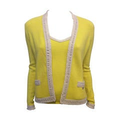 Chanel Yellow Knit Twinset with White Trim
