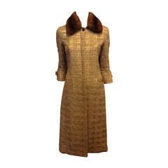 Carolina Herrera Gold Tweed Coat with Fur Collar