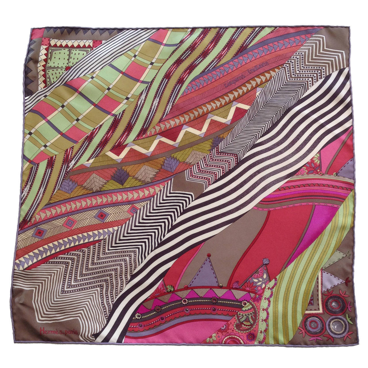 Hermes Pink and Green Coupons Indiens Silk Scarf 1