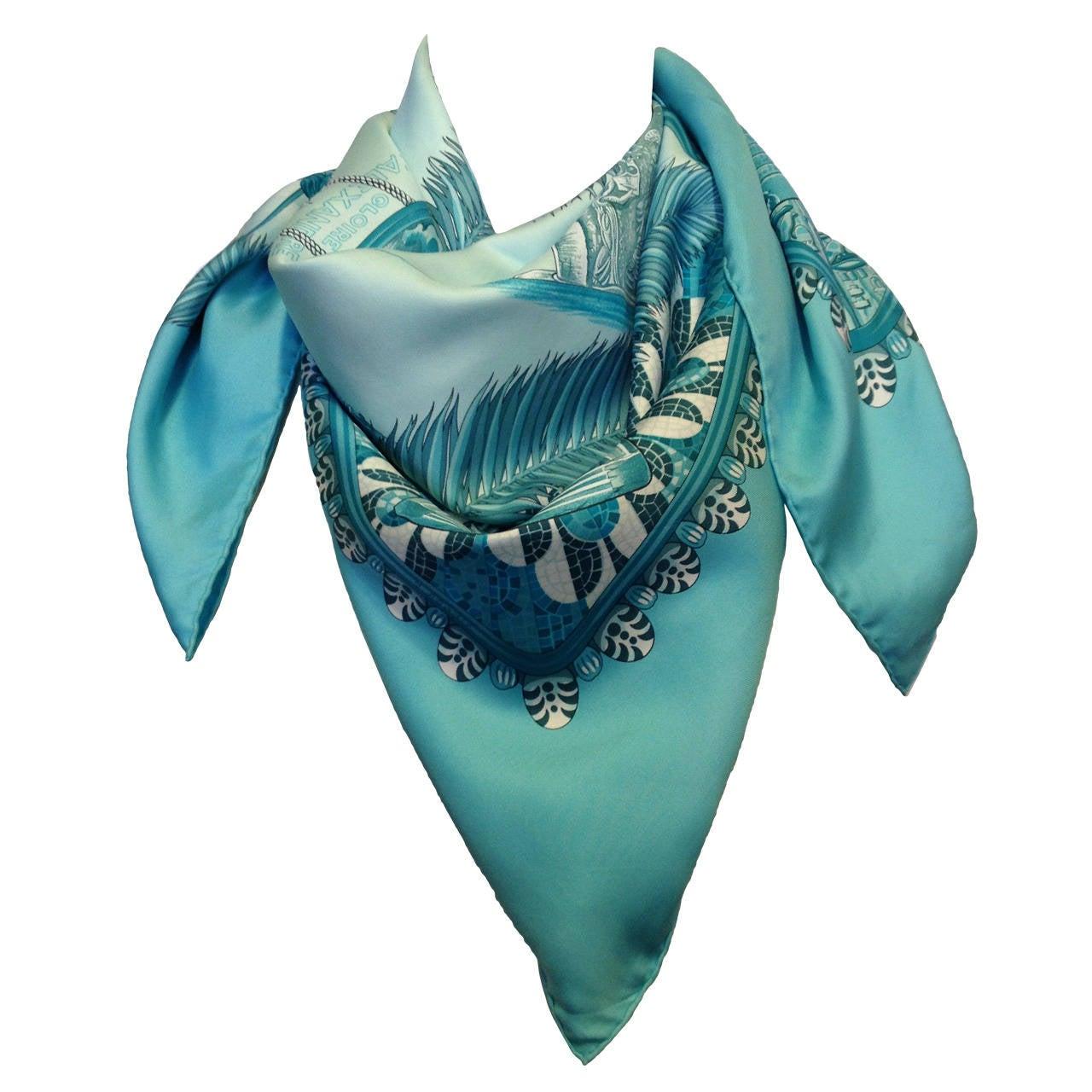 hermes blue gloire d alexandre silk scarf at 1stdibs