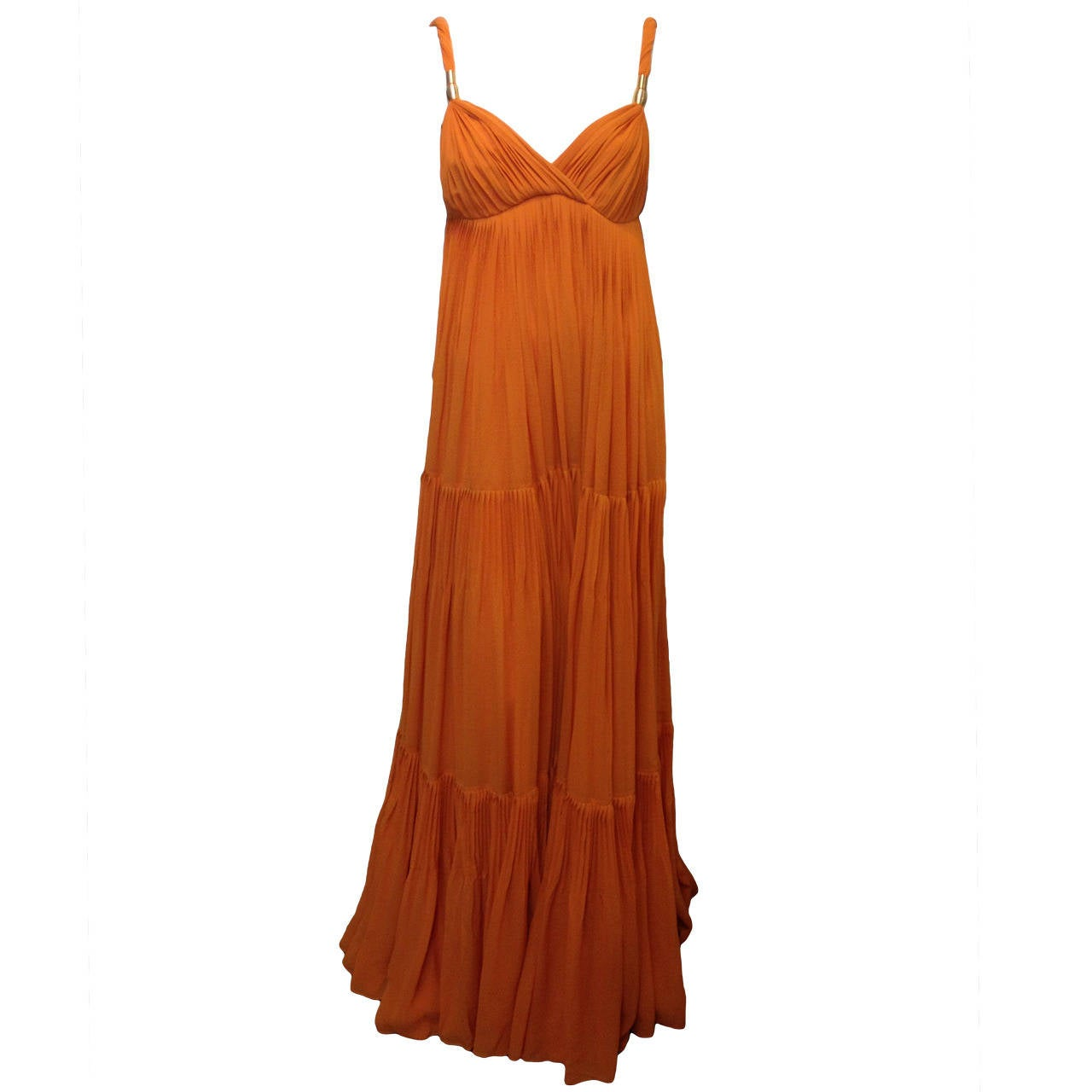 Gucci Orange Chiffon Tiered Gown 1