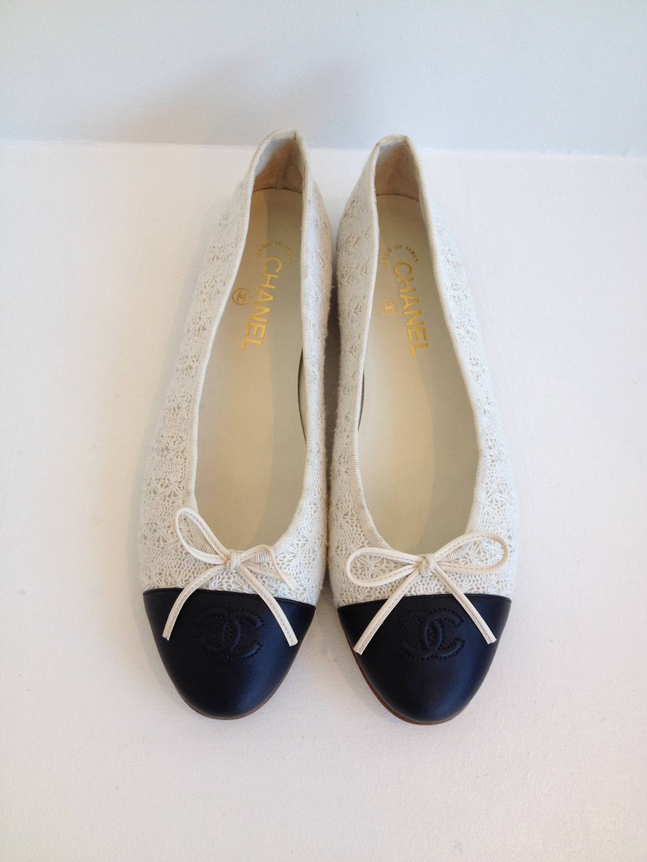 chanel black and white crochet flats at 1stdibs
