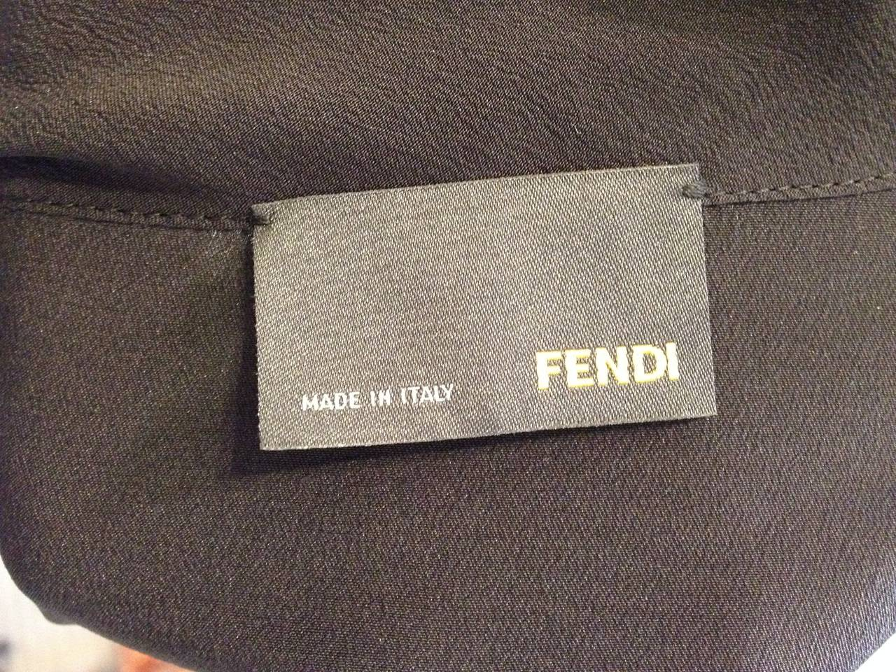 Fendi Black Silk Blouse with Braided Shoulders 6