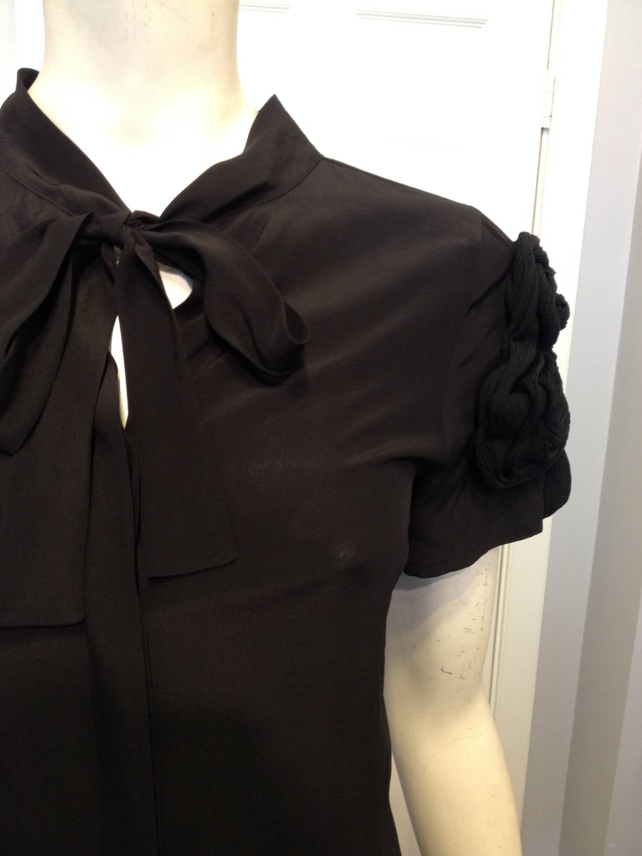 Fendi Black Silk Blouse with Braided Shoulders 4
