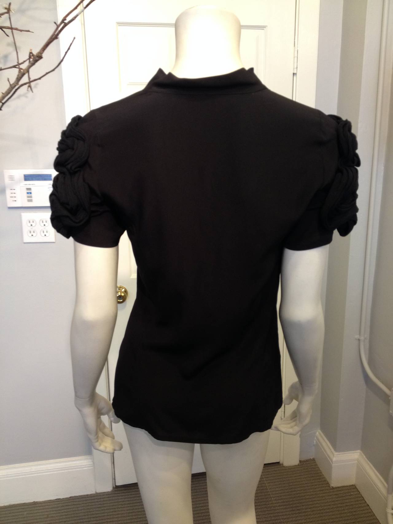 Fendi Black Silk Blouse with Braided Shoulders 2