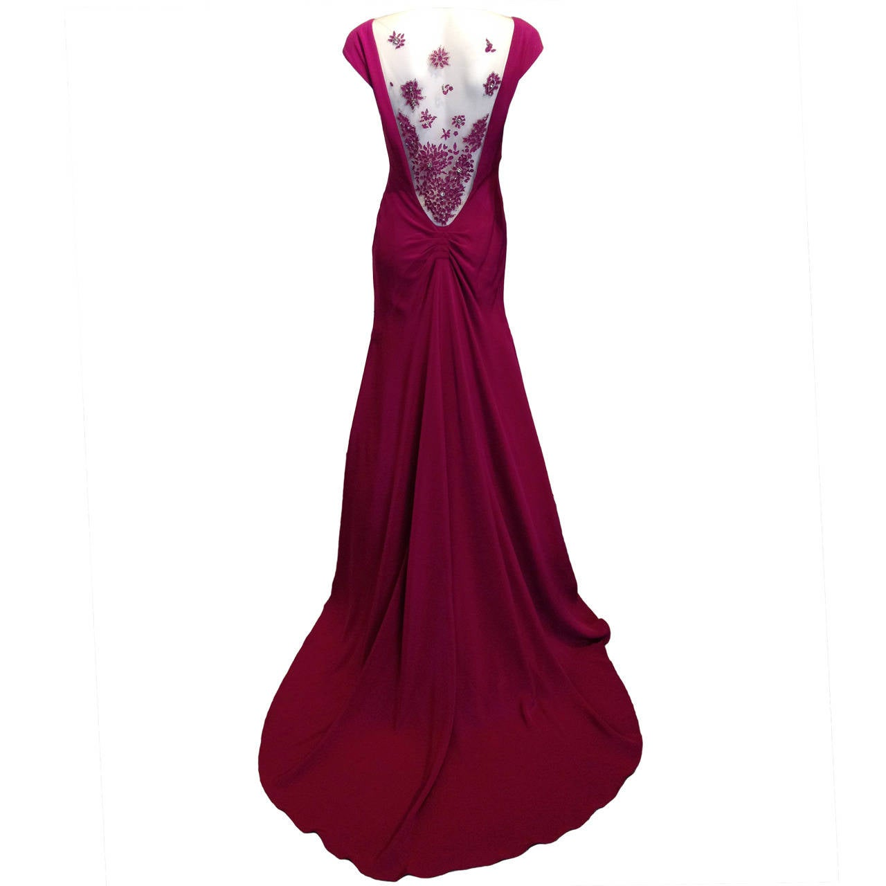 Lela Rose Magenta Lace-Back Gown For Sale