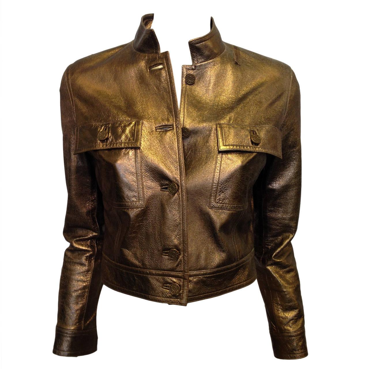 Celine Bronze Metallic Leather Jacket For Sale
