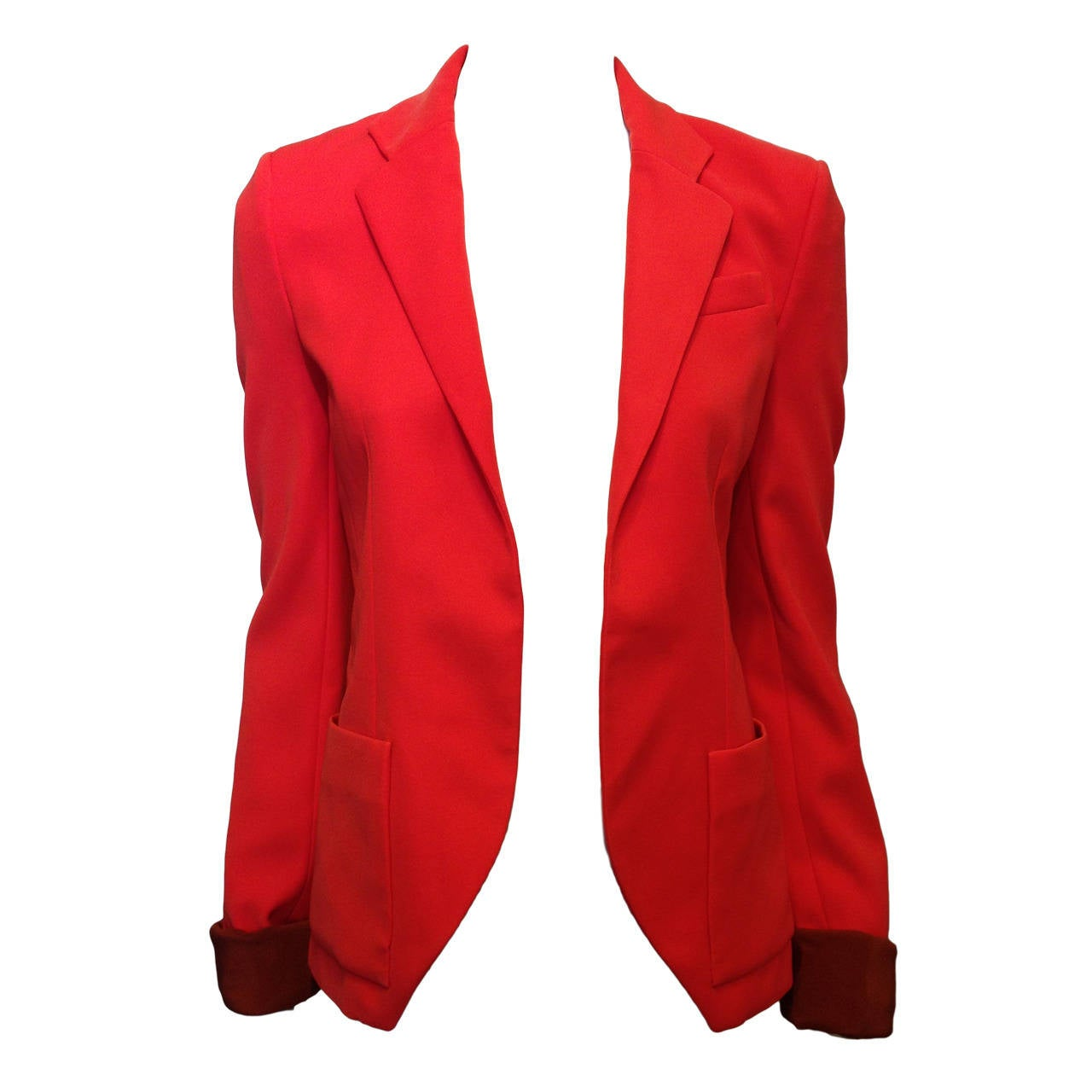 Balenciaga Orange Red Silk Tailored Blazer 1