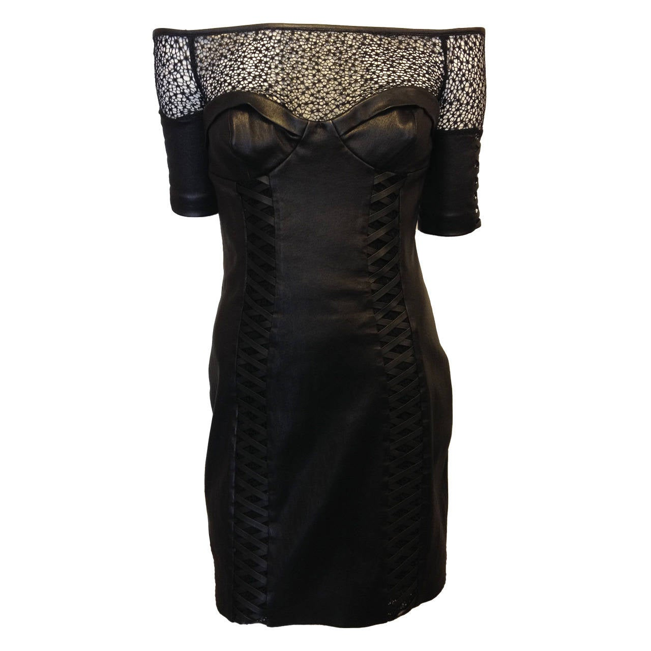Kevork Kiledjian Black Leather and Lace Dress 1
