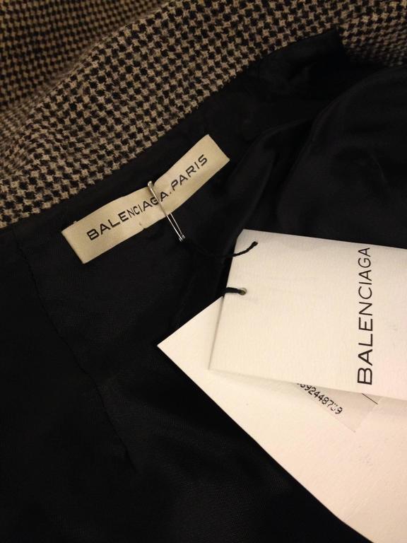 Balenciaga Brown Houndstooth Coat For Sale 3