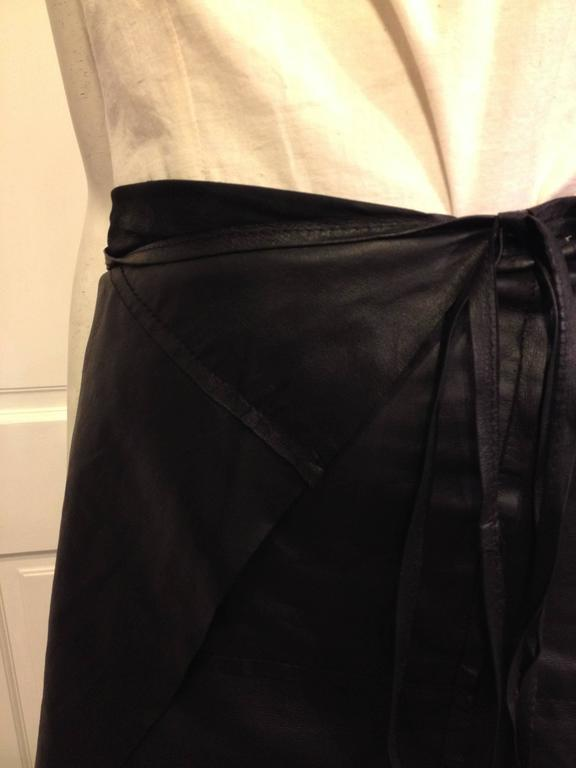 Women's Ann Demeulemeester Black Leather Wrap Skirt For Sale