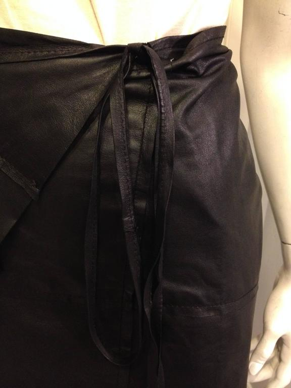 Ann Demeulemeester Black Leather Wrap Skirt For Sale 1
