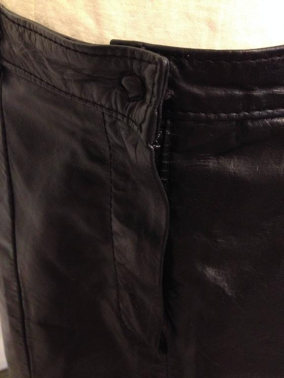 Ann Demeulemeester Black Leather Slit Skirt 4