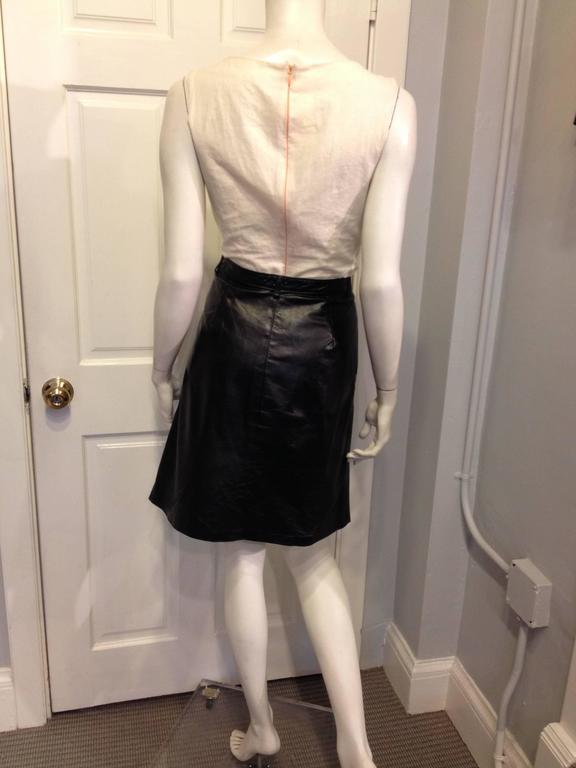 Ann Demeulemeester Black Leather Slit Skirt In Excellent Condition For Sale In San Francisco, CA