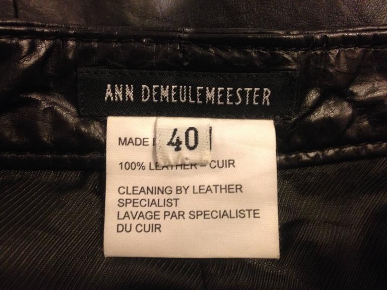 Ann Demeulemeester Black Leather Slit Skirt 8
