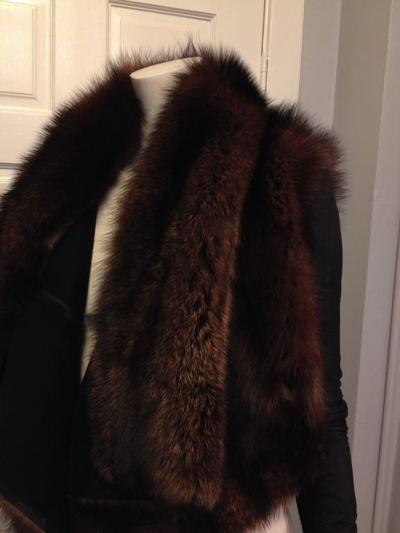 Rick Owens Brown Fishercat Fur Wrap Jacket 4