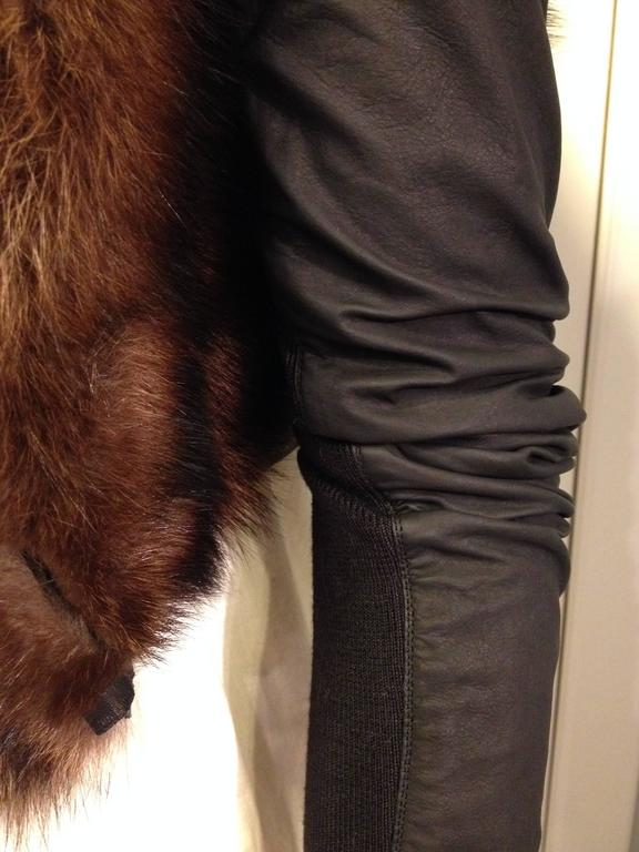 Rick Owens Brown Fishercat Fur Wrap Jacket 7