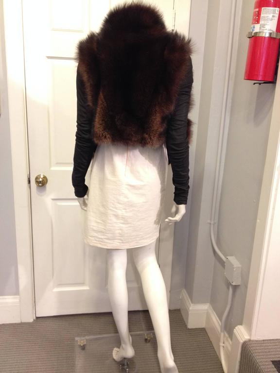 Rick Owens Brown Fishercat Fur Wrap Jacket 3