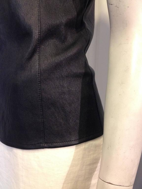 Celine Black Leather T-Shirt For Sale 2