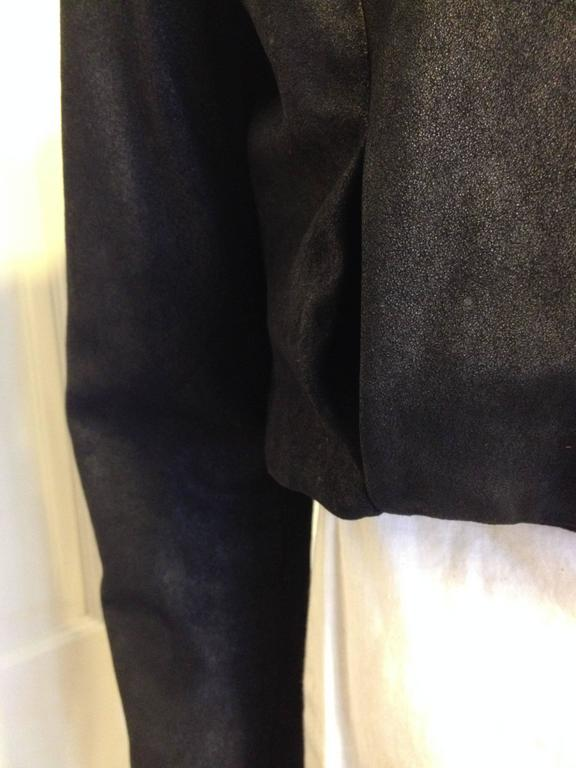 The Row Black Cropped Nubuck Jacket For Sale 3