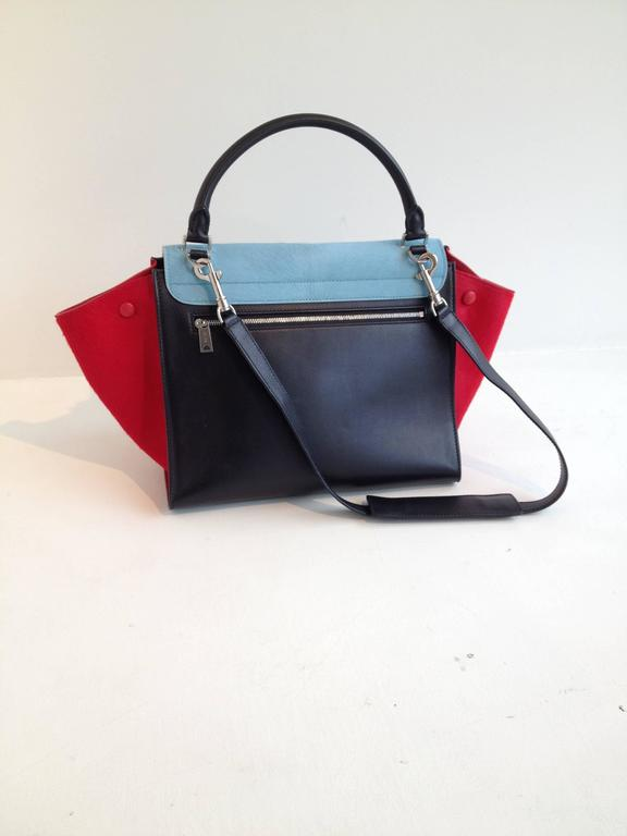 Celine Red and Sky Blue Pony Hair Trapeze Bag In New never worn Condition For Sale In San Francisco, CA
