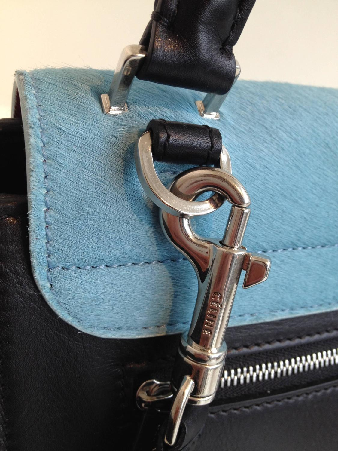 Celine Red and Sky Blue Pony Hair Trapeze Bag For Sale at 1stdibs