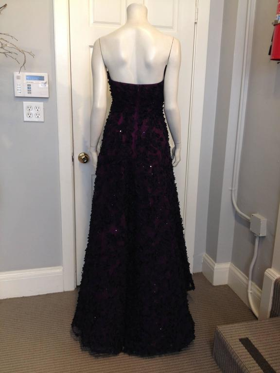 Oscar de la Renta Royal Purple Floral Gown 4