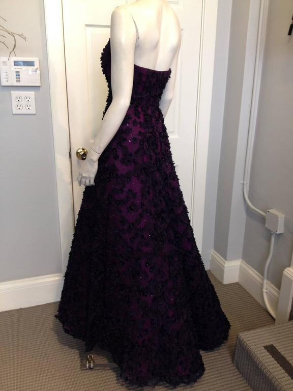 Oscar de la Renta Royal Purple Floral Gown 3