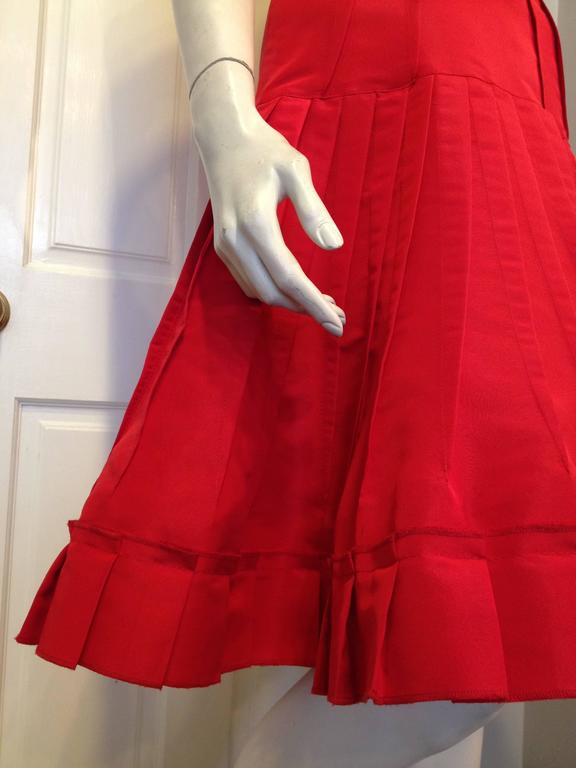 Oscar de la Renta Red Silk Dress with Ruffles 6