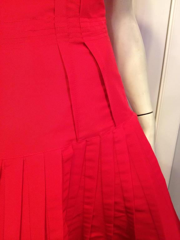 Oscar de la Renta Red Silk Dress with Ruffles 7
