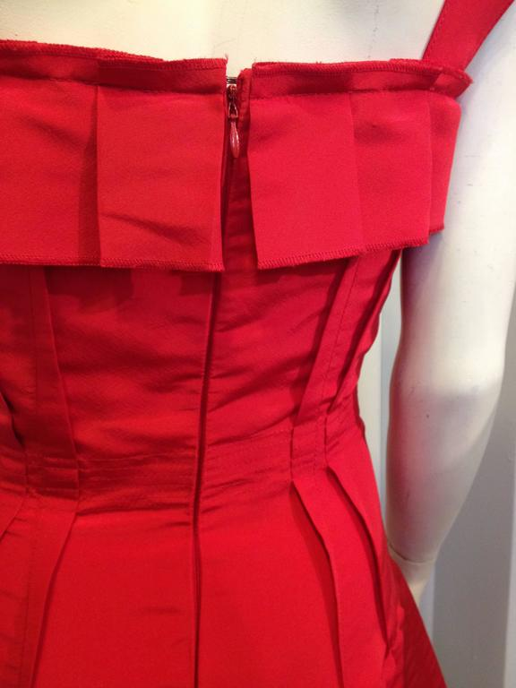 Oscar de la Renta Red Silk Dress with Ruffles 8