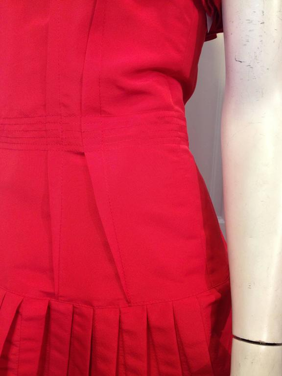 Oscar de la Renta Red Silk Dress with Ruffles 9