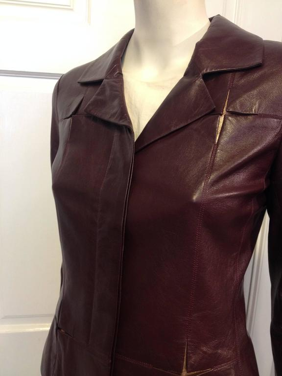 Chanel Burgundy Leather Jacket With Rose Gold Insets For