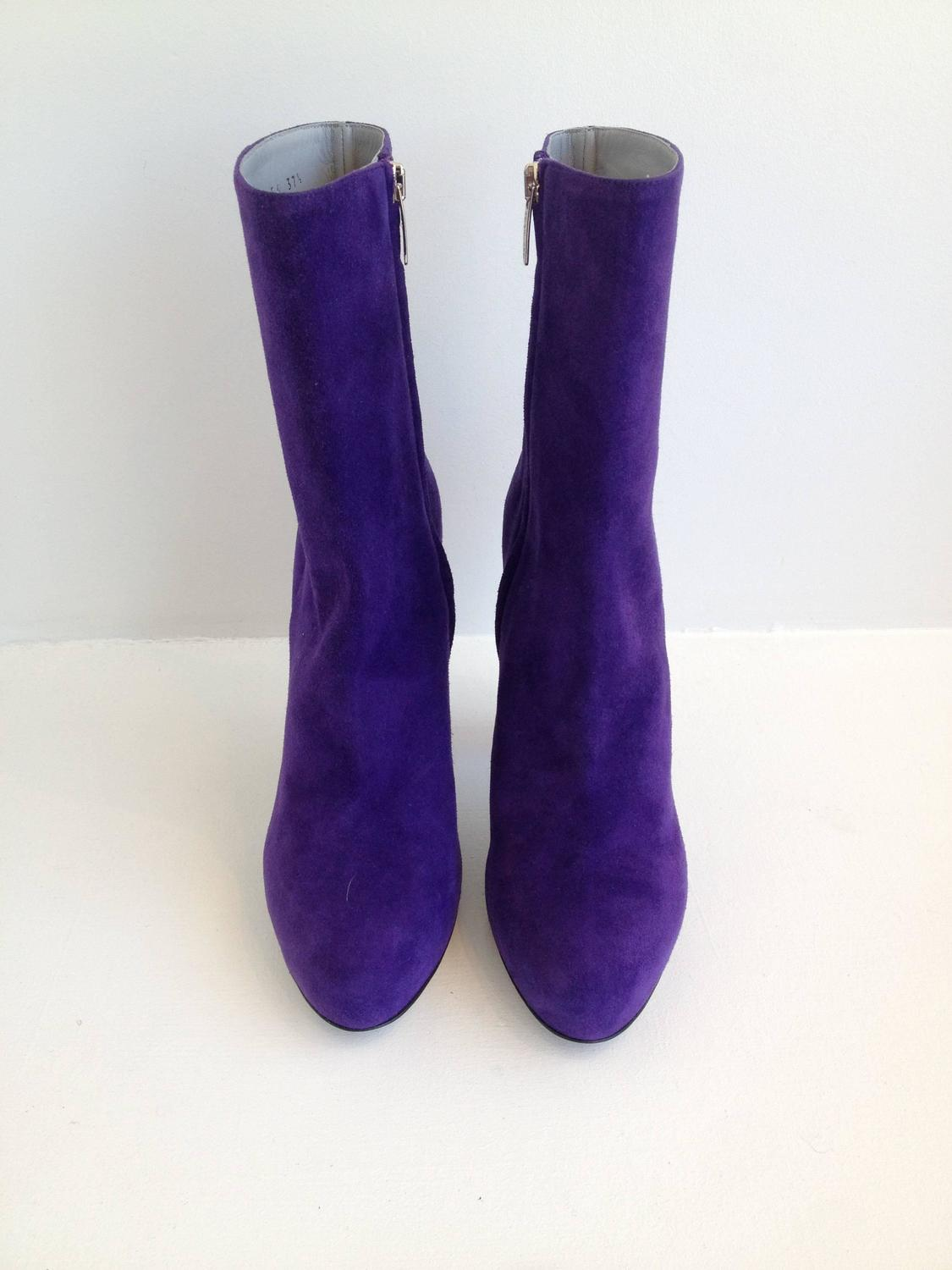 sergio purple suede boots with pink heel at 1stdibs