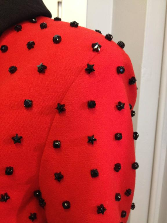 Givenchy Red Runway Jacket Black Star Embellishment Fall-Winter 2012-2013 Sz 38 For Sale 1