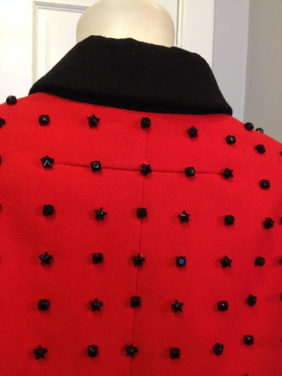 Givenchy Red Runway Jacket Black Star Embellishment Fall-Winter 2012-2013 Sz 38 For Sale 2
