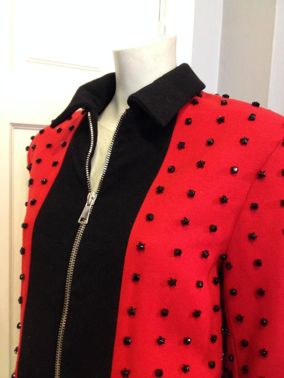 Women's or Men's Givenchy Red Runway Jacket Black Star Embellishment Fall-Winter 2012-2013 Sz 38 For Sale