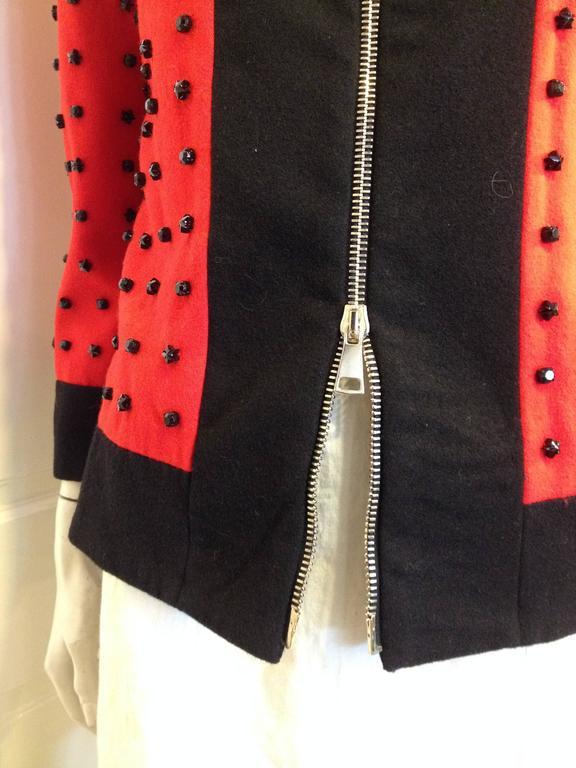 Givenchy Red Runway Jacket Black Star Embellishment Fall-Winter 2012-2013 Sz 38 7