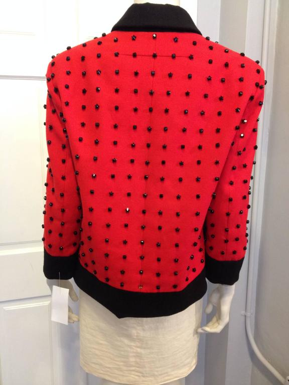 Givenchy Red Runway Jacket Black Star Embellishment Fall-Winter 2012-2013 Sz 38 In Excellent Condition For Sale In San Francisco, CA