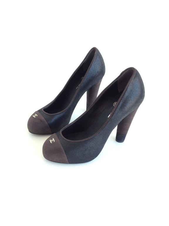 Chanel Black and Brown Coated Nubuck Pumps 2