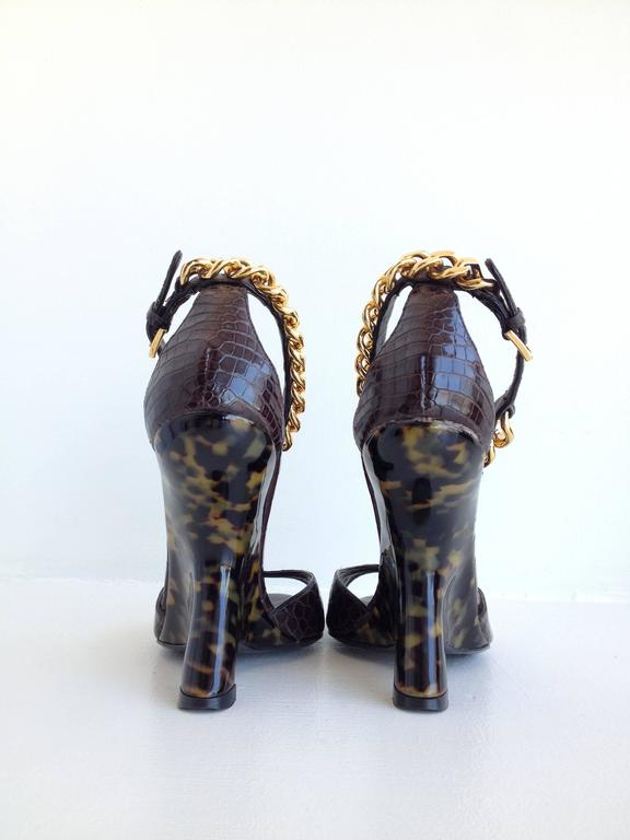 Tom Ford Brown Crocodile Wedges In New Never_worn Condition For Sale In San Francisco, CA