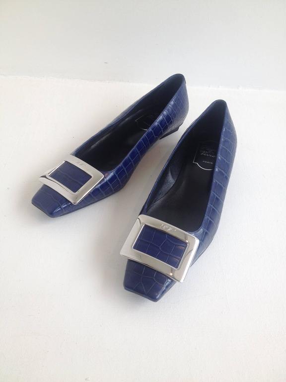 Purple Roger Vivier Blue Crocodile Flats For Sale