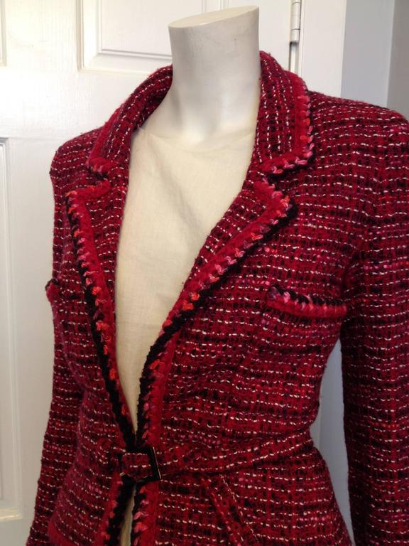 Chanel Red And White Tweed Blazer Jacket At 1stdibs