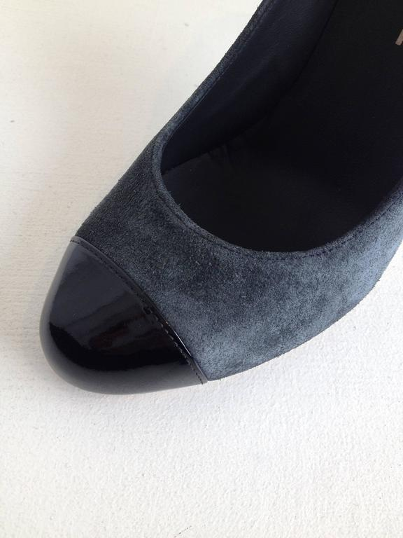 Chanel Grey Suede Cap-Toe Pumps 5