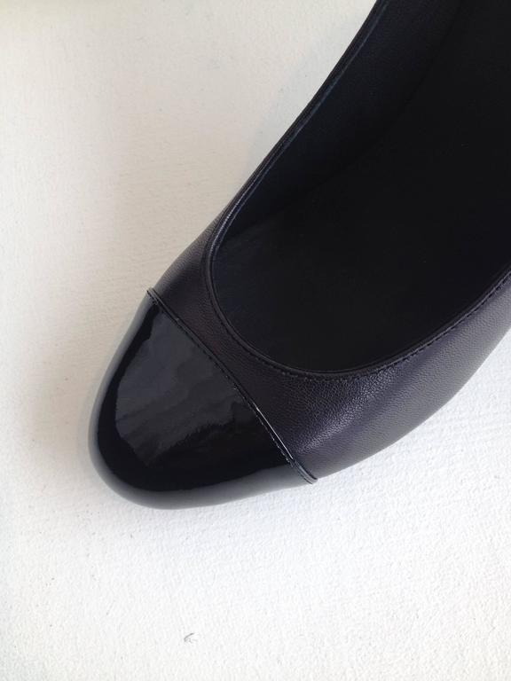 Chanel Black Patent Leather Cap-Toe Pumps 5