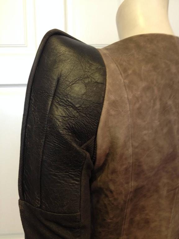 Rick Owens Taupe and Brown Leather Jacket 6