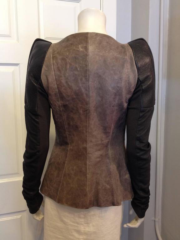 Rick Owens Taupe and Brown Leather Jacket 3