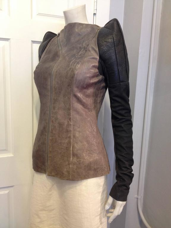 Rick Owens Taupe and Brown Leather Jacket 2