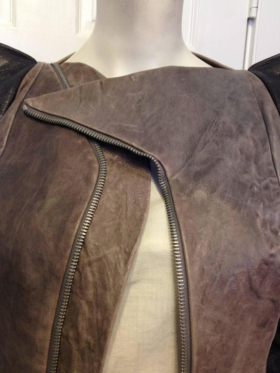Rick Owens Taupe and Brown Leather Jacket 4