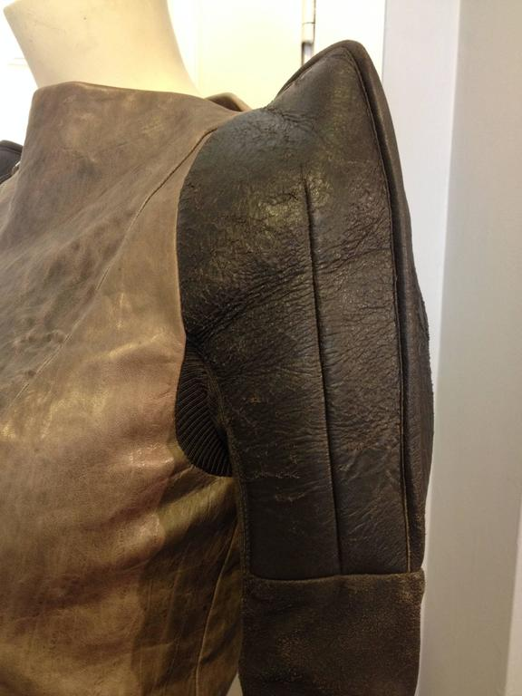Rick Owens Taupe and Brown Leather Jacket 5